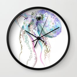Octopus (soft gray, violet, turquouse) Wall Clock