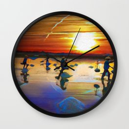 Sunset Over The Paddie Fields | Oil Painting Wall Clock