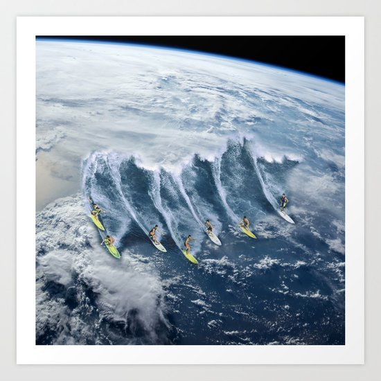 Surfing the Earth Art Print