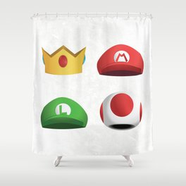 Super Mario Character Hats - White Shower Curtain