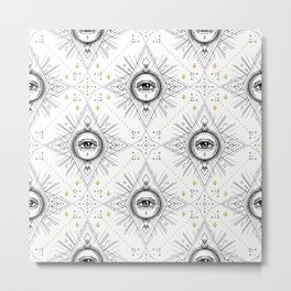 Sacred geometry seamless pattern with all seeing eye over white. Metal Print