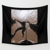 miley Wall Tapestries featuring Hanging On  by David Miley