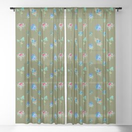 WATERCOLOR FLORAL Sheer Curtain