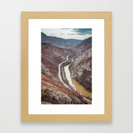 Beautiful picture of the canyon in Serbia. Dramatic sky and mountains Framed Art Print