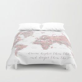 Inspirational detailed world map in dusty pink and gray Duvet Cover