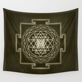 Sri Yantra XI monochrome Wall Tapestry
