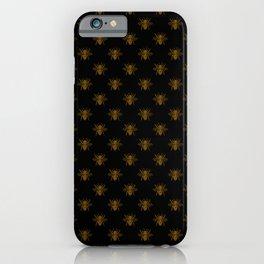 Foil Bees on Black Gold Metallic Faux Foil Photo-Effect Bees iPhone Case