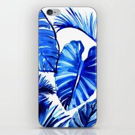 Bright Blue Jungle Leaves iPhone Skin