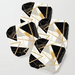 Black and Gold Geometric Coaster