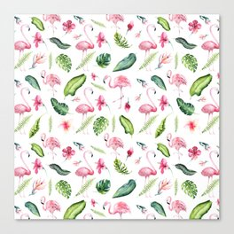 Pink green watercolor tropical hand painted flamingo Canvas Print