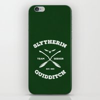 quidditch iPhone & iPod Skins featuring Slytherin Quidditch Team Seeker: Green by Sharayah Mitchell