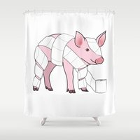 piglet Shower Curtains featuring Piglet by Doctor Hue