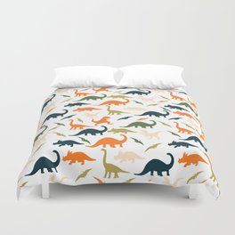 Dinos in Pastel Green and Orange Duvet Cover