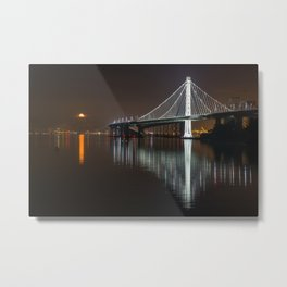 Full Moon & New Bay Bridge, San Francisco Metal Print