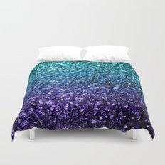 Beautiful Aqua blue Ombre glitter sparkles Duvet Cover