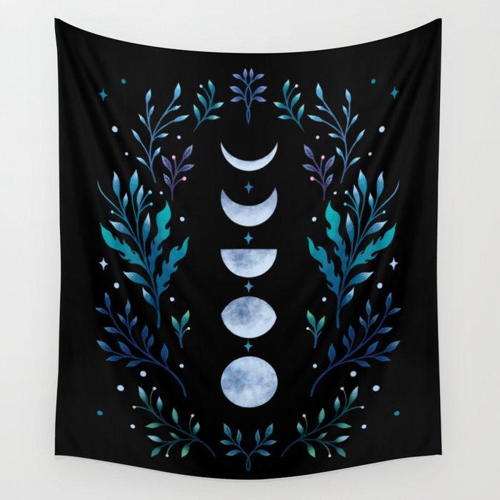 Moonlight Garden - Blue Wall Tapestry