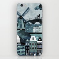travel poster iPhone & iPod Skins featuring Amsterdam Travel Poster by ClaireIllustrations