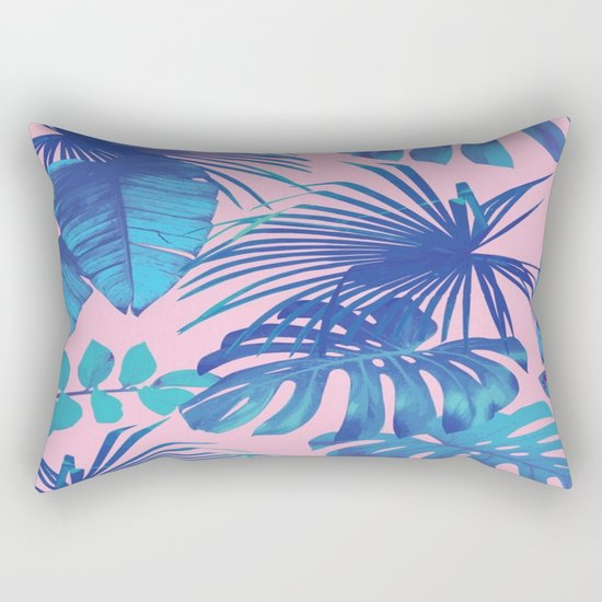 tropical leaf pattern pink  Rectangular Pillow