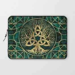 Tree of life with Triquetra Malachite and Gold Laptop Sleeve