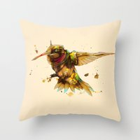 android Throw Pillows featuring android hummingbird by Kingu Omega