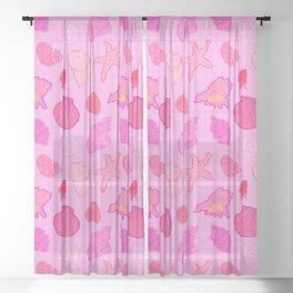 Simply Seashells Toss in Tonal Pink Sheer Curtain