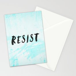 RESIST 5.0 - Black on Teal #resistance Stationery Cards