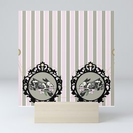 Spring bone bunny pattern Mini Art Print