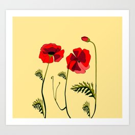 Adorable Red Poppies Unfold Art Print