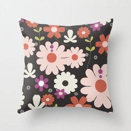 Flowers: Royal black Throw Pillow