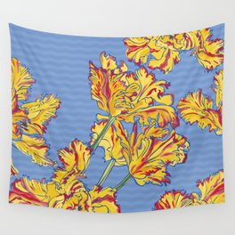 Yellow Tulips on Blue Wall Tapestry