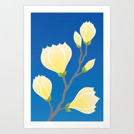 Yellow Magnolia, Flowering Springtime Branch Art Print