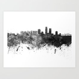 Corpus Christi skyline in black watercolor on white background Art Print