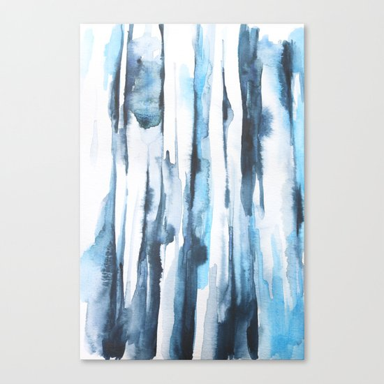 Blue Ice Watercolor Canvas Print