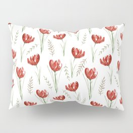 Red poppies. Watercolor Pillow Sham