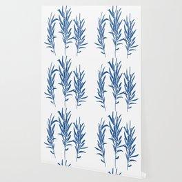 Eucalyptus Branches Blue Wallpaper