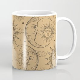 Tan Magic Celestial Sun Moon Stars Coffee Mug