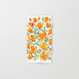 Watercolor California poppies Hand & Bath Towel