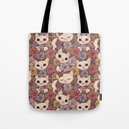 Floral Cat Pattern Tote Bag