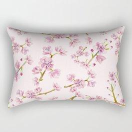 Spring Flowers - Pink Cherry Blossom Pattern Rectangular Pillow