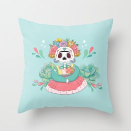 Catrina Skull for Day of the death Kawaii style Throw Pillow