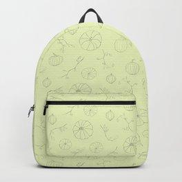 Mint green gray autumn pumpkin floral pattern Backpack