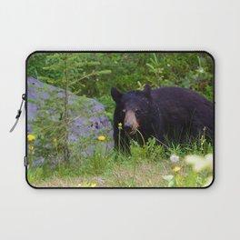 Black bear munches on some dandelions in Jasper National Park Laptop Sleeve