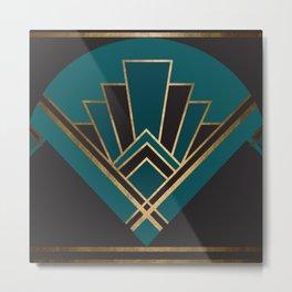 Art Deco New Yesterday In Teal Metal Print