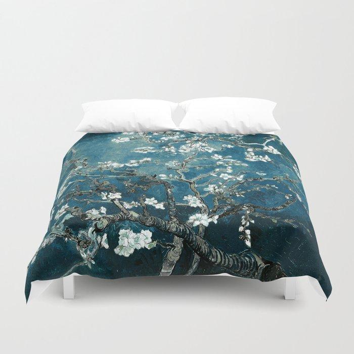 Van Gogh Almond Blossoms : Dark Teal Bettbezug