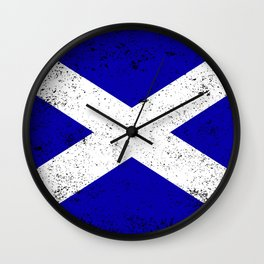 Scotish Flag Grunge Wall Clock