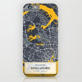 Singapore City Map with GPS Coordinates iPhone Case