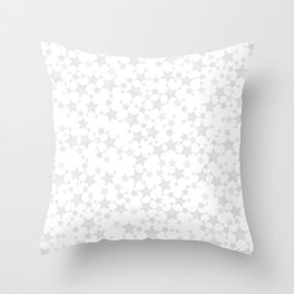 Block Print Silver-Gray and White Stars Pattern Throw Pillow