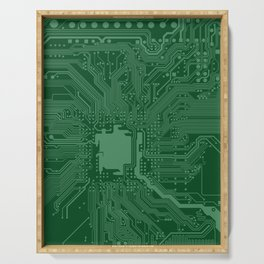 Green Geek Motherboard Circuit Pattern Serving Tray