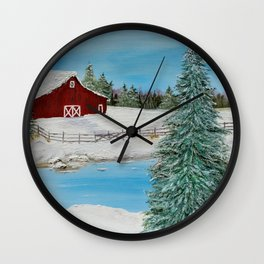 Red Barn in Winter Wall Clock