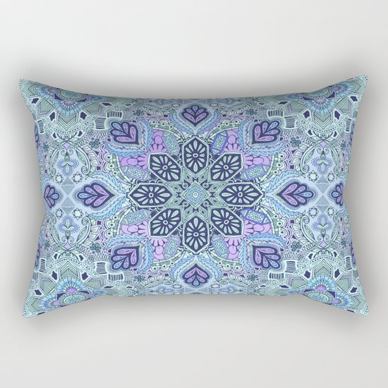 Navy Blue, Mint and Purple Boho Pattern  Rectangular Pillow